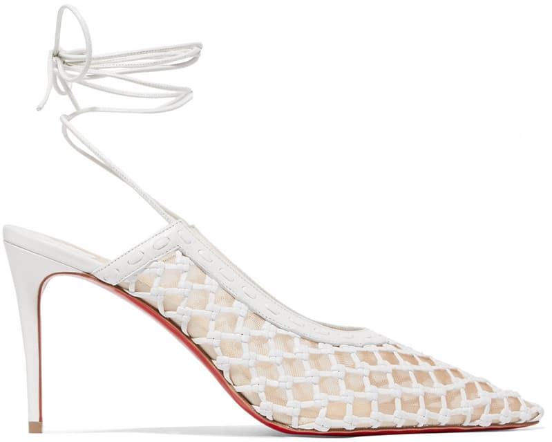 Christian Louboutin Roland Mouret White Leather Cage and Curry Pump ShoeRazzi