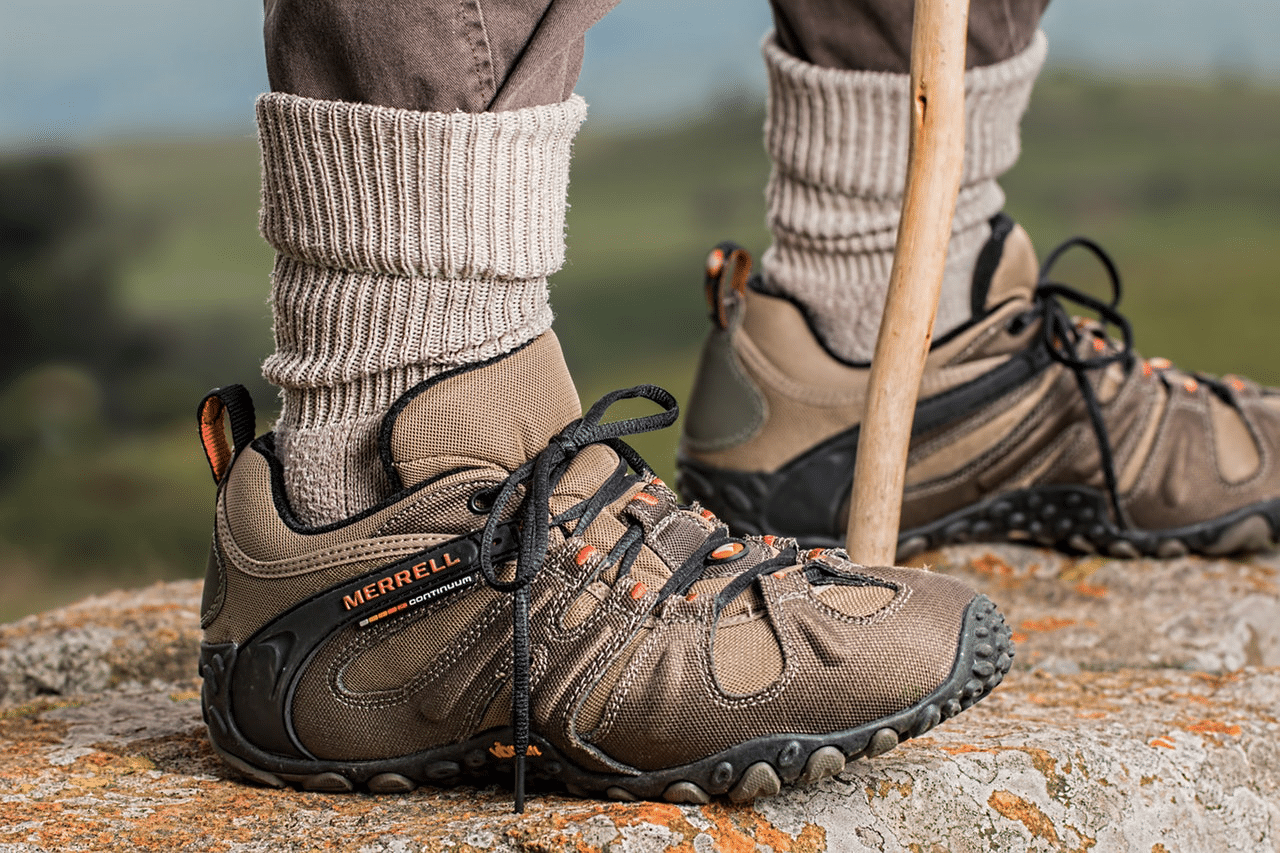 Brown hiking shoes