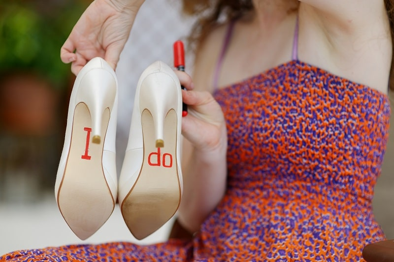 writing on the wedding shoes